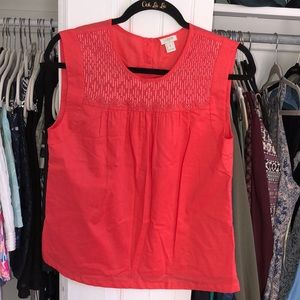 JCrew coral tunic top with embroidery Sz 4